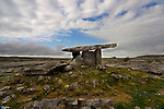 Poulnabrone Dolmen, The Burren. The Hole of Sorrows.  Dating back to the Neolithic period, probably between 3800 BC to 3200 BC