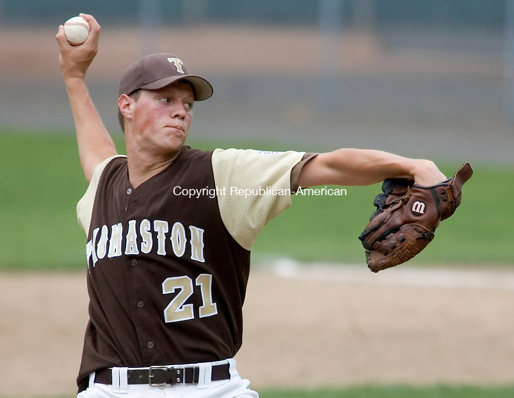 BRISTOL, CT. 01 June 2008-060108SV04--#21 David Fredlund of Thomaston High pitches while beating East Granby 1-0 in the CIAC Class S quarterfinals at Muzzy Field in Bristol Sunday.<br />  Steven Valenti Republican-American