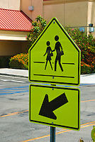 Five Sided, Pedestrian, Sign, yellow, black symbols, Arrow pointing Down, Stop Here