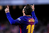 7th January 2018, Camp Nou, Barcelona, Spain; La Liga football, Barcelona versus Levante; Leo Messi of FC Barcelona celebrates his goal for 1-0 in the first minute against Levante