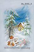 Interlitho, CHRISTMAS SANTA, SNOWMAN, nostalgic, paintings, house, rabbits, squirrel(KL2461/2,#X#) Weihnachten, nostalgisch, Navidad, nostálgico, illustrations, pinturas