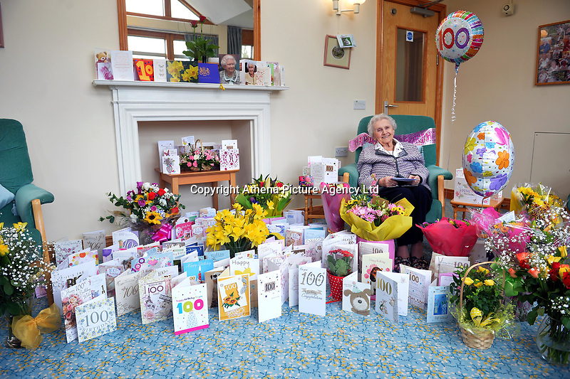 """Pictured: Marjorie Ovens with some of the cards she received for her100th  birthday at Eleanor Hodson house in Caerleon, Wales, UK.<br /> Re: A woman who recently celebrated her 100th birthday was treated to a surprise party by a group and has received hundreds of cards from well-wishers after an appeal.<br /> Marjorie Ovens celebrated her birthday and received 321 birthday cards.<br /> Matt Callanan, of We Make Good Happen, decided that after hearing about Ms Ovens that he wanted to """"surprise her"""".<br /> He said: """"As a group we aim to do good things for people.<br /> """"We're here at Eleanor Hodson House Nursing Home to make sure she enjoys herself - there's plenty of food, music and balloons here."""""""