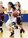 WATERBURY CT. 18 February 2018-021819SV08-#11 Janessa Gonzalez of St. Paul drives to the hoop against Naugatuck High during the NVL semi final at Kennedy High in Waterbury Monday.<br /> Steven Valenti Republican-American