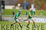 Ally O'Connor Ballyduff in action against Ricky Heffernan Lixnaw in the Senior County Hurling Final in Austin Stack Park on Sunday