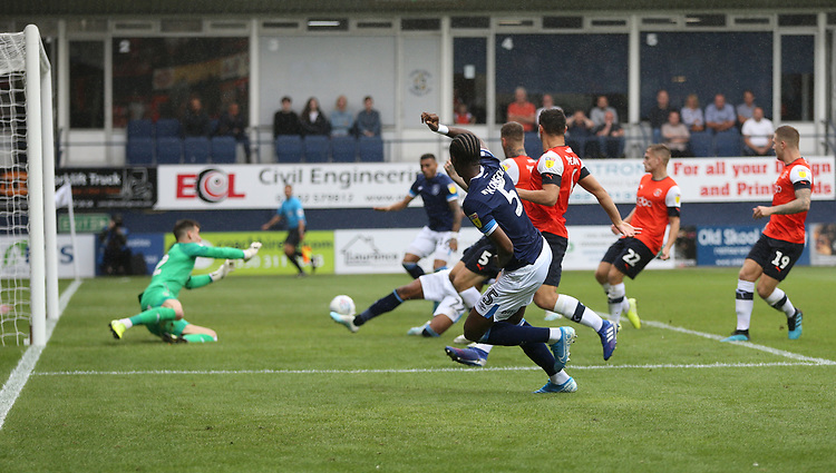 Huddersfield Town's Terence Kongolo crosses for Karlan Grant to score his side's first goal<br /> <br /> Photographer Rob Newell/CameraSport<br /> <br /> The EFL Sky Bet Championship - Luton Town v Huddersfield Town - Saturday 31 August 2019 - Kenilworth Stadium - Luton<br /> <br /> World Copyright © 2019 CameraSport. All rights reserved. 43 Linden Ave. Countesthorpe. Leicester. England. LE8 5PG - Tel: +44 (0) 116 277 4147 - admin@camerasport.com - www.camerasport.com
