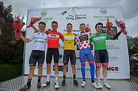 Podium winners after the first stage, from left: Jensen Plowright of Australia/Team BridgeLane (U23), Logan Griffin of New Zealand/Cabjaks - Castelli (Most aggressive), Aaron Gate of New Zealand/Black Spoke Pro Cycling Academy (Yellow Jersey), Marcus Culey of Australia/Team Sapura Cycling (KOM), and Dylan Kennett of New Zealand/St George Continental Cycling (Sprint). Day one of the NZ Cycle Classic UCI Oceania Tour in Wairarapa, New Zealand on Wednesday, 15 January 2020. Photo: Dave Lintott / lintottphoto.co.nz