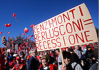 Manifestazione della CGIL contro il Jobs Act del governo, a Palazzo Chigi, Roma, 25 ottobre 2014.<br />