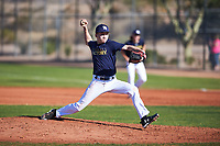 Miles Winter (46), from Bothell, Washington, while playing for the Padres during the Under Armour Baseball Factory Recruiting Classic at Red Mountain Baseball Complex on December 28, 2017 in Mesa, Arizona. (Zachary Lucy/Four Seam Images)