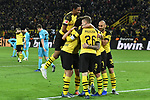 01.12.2018, Signal Iduna Park, Dortmund, GER, DFL, BL, Borussia Dortmund vs SC Freiburg, DFL regulations prohibit any use of photographs as image sequences and/or quasi-video<br /> <br /> im Bild die Mannschaft von Dortmund Jubel / Freude / Emotion / Torjubel / Torschuetze zum 2:0 Torschuetze Paco Alcacer (#9, Borussia Dortmund) <br /> <br /> Foto © nordphoto/Mauelshagen