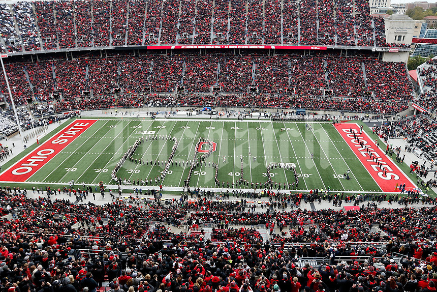 The Ohio State Marching Band performs Script Ohio before the start of the game at Ohio Stadium in Columbus on Saturday, October 28, 2017. [Andrea Noall/Dispatch]