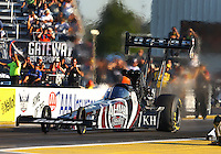 Sep 27, 2013; Madison, IL, USA; NHRA top fuel dragster driver Shawn Langdon during qualifying for the Midwest Nationals at Gateway Motorsports Park. Mandatory Credit: Mark J. Rebilas-
