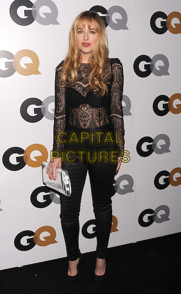 Dakota Johnson.Arriving at the GQ Men Of The Year Party at Chateau Marmont Hotel in Los Angeles, California, USA..November 13th, 2012.full length black lace top see through thru bra trousers silver clutch bag.CAP/ROT/TM.©Tony Michaels/Roth Stock/Capital Pictures