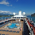 upper deck of cruise ship Pacific Princess as it leaves Vancouver BC for an Alaskan cruise