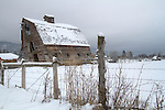Montana, Western, St. Ignatius. A rustic barn remains standing inspite of a severe tilt in it's structure.