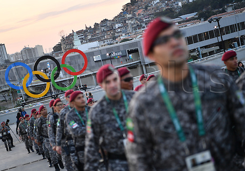 05.08.2016. Rio de Janeiro, Brazil.  Security staff arrives prior to the opening ceremony of the Rio 2016 Olympic Games at the Maracana stadium in Rio de Janeiro, Brazil, 5 August 2016.