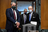 Internal Revenue Service Commissioner Charles Rettig, left, arrives with United States Senator Chuck Grassley (Republican of Iowa), Chairman, US Senate Committee on Finance, right, for a US Senate Finance Committee hearing on Capitol Hill in Washington, Tuesday, June 30, 2020, on the 2020 filing season and COVID-19 recovery. <br /> Credit: Susan Walsh / Pool via CNP /MediaPunch