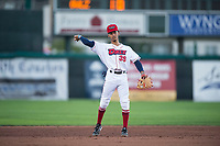 Orem Owlz shortstop Jeremiah Jackson (39) throws the ball around the infield during a Pioneer League game against the Ogden Raptors at Home of the OWLZ on August 24, 2018 in Orem, Utah. The Ogden Raptors defeated the Orem Owlz by a score of 13-5. (Zachary Lucy/Four Seam Images)