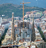 The Basilica de la Sagrada Família (Basilica and Expiatory Church of the Holy Family) looking southwest in Barcelona, Spain on October 19, 2013.<br /> Credit: Ron Sachs / CNP