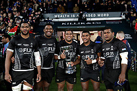 16th November 2019; Twickenham, London, England; International Rugby, Barbarians versus Fiji;  Mesulame Kunavula, Temo Mayanavanua, Veremalua Vugakoto, Peni Matawalu and Joeli Veitayaki of Fiji all pose with the Killik Cup after defeating the Barbarians 33-31- Editorial Use