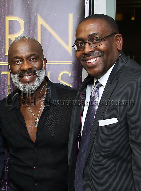 "BeBe Winans and Ron Gillyard backstage after a Song preview performance of the Bebe Winans Broadway Bound Musical ""Born For This"" at Feinstein's 54 Below on November 5, 2018 in New York City."