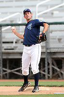 Everett Aquasox pitcher Bryan Leigh #19 before game against the Vancouver Canadians at Everett Memorial Stadium on August 8, 2011 in Everett,Washington. Everett defeated Vancouver 5-1.(Larry Goren/Four Seam Images)