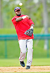 6 March 2006: Cristian Guzman, infielder for the Washington Nationals, warms up prior to a Spring Training game against the Los Angeles Dodgers. The Nationals and Dodgers played to a scoreless tie at Holeman Stadium, in Vero Beach Florida...Mandatory Photo Credit: Ed Wolfstein..