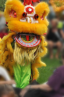 Chinese cultural lion dance performance, during which money is placed in the lion's mouth for good luck.