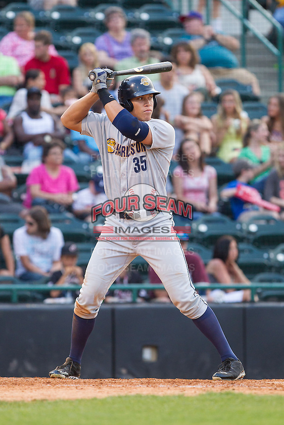 Aaron Judge (35) of the Charleston RiverDogs at bat against the Hickory Crawdads at L.P. Frans Stadium on May 25, 2014 in Hickory, North Carolina.  The RiverDogs defeated the Crawdads 17-10.  (Brian Westerholt/Four Seam Images)