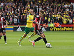 Tom Trybull of Norwich City in action with David Brooks of Sheffield Utd during the Championship match at Bramall Lane Stadium, Sheffield. Picture date 16th September 2017. Picture credit should read: Jamie Tyerman/Sportimage