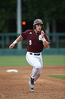 Elih Marrero (9) of the Mississippi State Bulldogs runs the bases during a game against the Southern California Trojans at Dedeaux Field on March 5, 2016 in Los Angeles, California. Mississippi State defeated Southern California , 8-7. (Larry Goren/Four Seam Images)