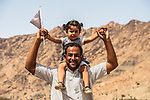 Local fans cheer on the race during Stage 4 of the 2018 Tour of Oman running 117.5km from Yiti (Al Sifah) to Ministry of Tourism. 16th February 2018.<br /> Picture: ASO/Muscat Municipality/Kare Dehlie Thorstad   Cyclefile<br /> <br /> <br /> All photos usage must carry mandatory copyright credit (&copy; Cyclefile   ASO/Muscat Municipality/Kare Dehlie Thorstad)