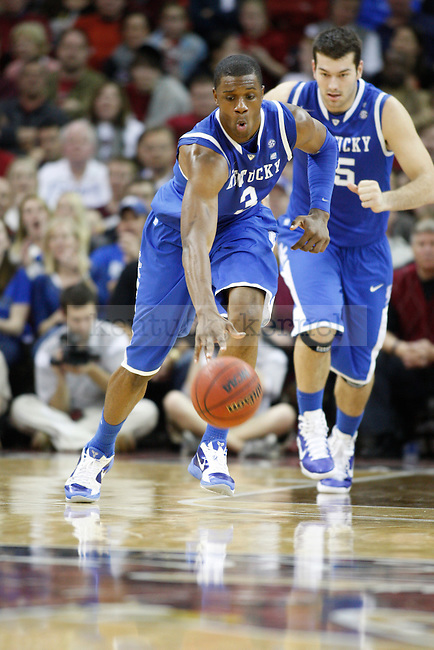 UK forward Terrence Jones moves the ball up the court against South Carolina at Colonial Life Arena on Saturday, Jan. 22, 2011. Photo by Scott Hannigan | Staff
