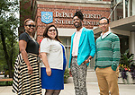 Kim Everett, director office of multicultural student success, Patricia Santoyo-Marín, associate director and liaison to undocumented students, Michael Riley, LGBTQA resource center coordinator and Johnny Lasalle, intersectional programs coordinator. (DePaul University/Jamie Moncrief)