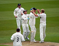 PICTURE BY VAUGHN RIDLEY/SWPIX.COM - Cricket - County Championship Div 2 - Yorkshire v Kent, Day 3 - Headingley, Leeds, England - 07/04/12 - Kent's Mark Davies celebrates the wicket of Yorkshire's Joe Sayers.
