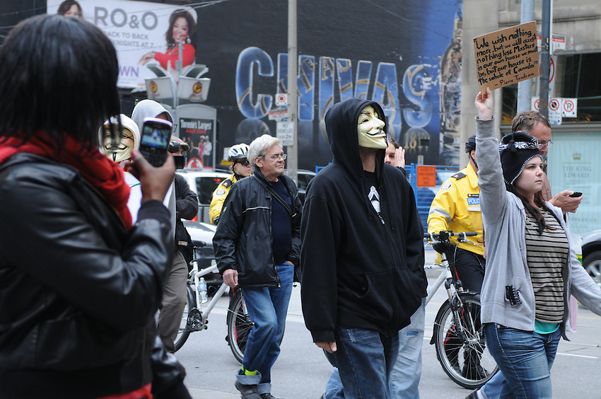 Occupy Toronto protest movement, march, downtown Toronto, October 18, 2011