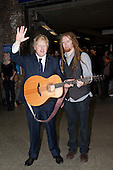 London Mayor Boris Johnson with Musician Newton Faulkner. Busking at London Bridge Station. Rhythm of London 2011, Busking Underground competition is underway and the hunt is on to find London's most talented young musicians.