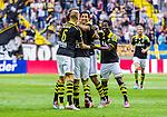 Solna 2014-07-12 Fotboll Allsvenskan AIK - Kalmar FF :  <br /> AIK:s Nabil Bahoui  har gjort 1-0 och gratuleras av Celso Borges med lagkamrater<br /> (Foto: Kenta J&ouml;nsson) Nyckelord:  AIK Gnaget Friends Arena Kalmar KFF jubel gl&auml;dje lycka glad happy