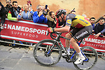 Belgian National Champion Yves Lampaert (BEL) Deceuninck-Quick Step climbs Via Santa Caterina in Siena in the last km of Strade Bianche 2019 running 184km from Siena to Siena, held over the white gravel roads of Tuscany, Italy. 9th March 2019.<br /> Picture: Eoin Clarke   Cyclefile<br /> <br /> <br /> All photos usage must carry mandatory copyright credit (© Cyclefile   Eoin Clarke)