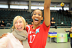 Rüsselsheim, Germany, April 13: Norisha Campbell #17 of the Rote Raben Vilsbiburg celebrates after winning the play off Game 1 in the best of three series in the semifinal of the DVL (Deutsche Volleyball-Bundesliga Damen) season 2013/2014 between the VC Wiesbaden and the Rote Raben Vilsbiburg on April 13, 2014 at Grosssporthalle in Rüsselsheim, Germany. Final score 0:3 (Photo by Dirk Markgraf / www.265-images.com) *** Local caption ***