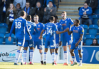 Colcehster celebrate the opening goal scored by number 24 Ben Stevenson of Colchester United during Colchester United vs Plymouth Argyle, Sky Bet EFL League 2 Football at the JobServe Community Stadium on 8th February 2020
