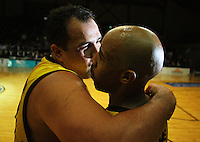 Pero Cameron and Jason Crowe celebrate after the win during game two of the NBL Final basketball match between the Wellington Saints and Waikato Pistons at TSB Bank Arena, Wellington, New Zealand on Friday 20 June 2008. Photo: Dave Lintott / lintottphoto.co.nz