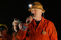Pictured: The Man Engine crew at the Copper Works in Morfa, Swansea, Wales, UK. Thursday 12 April 2018<br /> Re: The largest mechanical puppet in Britain starts its tour across south Wales.<br /> Man Engine, a mechanical miner which measures 36ft (11m) tall, has appeared at the Waterfront Museum and the former Copper Works in Swansea, Wales, animated by a dozen handlers.<br /> The giant is visiting areas linked to the nation's industrial past.