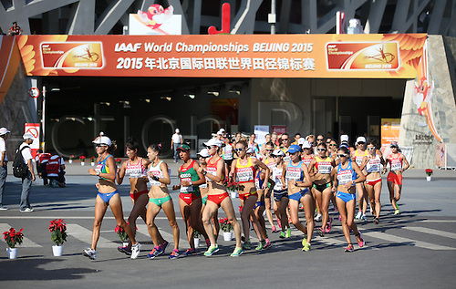 28.08.2015. Birds Nest Stadium, Beijing, China.  Competitors leave the stadium during the Women's 20 km Race Walk at the 15th International Association of Athletics Federations (IAAF) Athletics World Championships outside the National stadium, known as Bird's Nest, in Beijing, China, 28 August 2015.