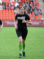 20150508 - LIEGE , BELGIUM : assistant referee Joline Delcroix pictured during the soccer match between the women teams of Standard de Liege Femina and PSV Eindhoven , on the 26th and last matchday of the BeNeleague competition Friday 8 th May 2015 in Stade Maurice Dufrasne in Liege . PHOTO DAVID CATRY