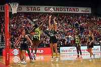 17.09.2016 Silver Ferns Ameliaranne Ekenasio in action during the Taini Jamison netball match between the Silver Ferns and Jamaica played at the Energy Events Centre in Rotorua. Mandatory Photo Credit ©Michael Bradley.