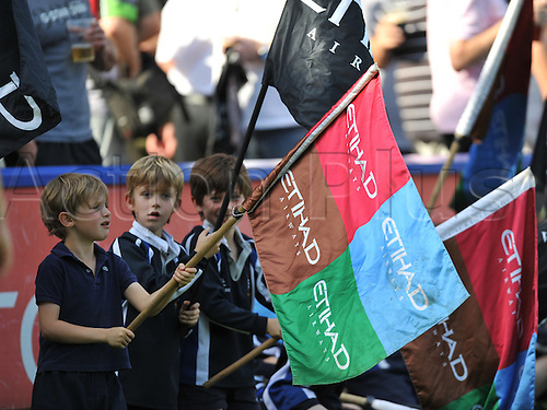 01.10.2011, Twickenham, England. Sale Sharks fans  In action during the Aviva Premiership  Rugby Union match between Harlequins and Sale Sharks, played at The Stoop. Mandatory Credit: Actionplus