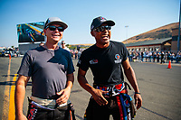 Jul 27, 2018; Sonoma, CA, USA; NHRA top fuel driver Steve Torrence (left) with Antron Brown during qualifying for the Sonoma Nationals at Sonoma Raceway. Mandatory Credit: Mark J. Rebilas-USA TODAY Sports