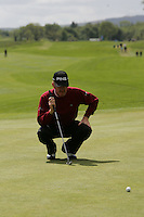 Miguel Angel Jimenez lines up his putt on the 9th green during the final round of the Irish Open on 20th of May 2007 at the Adare Manor Hotel & Golf Resort, Co. Limerick, Ireland. (Photo by Eoin Clarke/NEWSFILE)