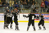 Andy Starczewski (Army - 21), Bryant Skarda (Army - 22), Mike Santee (Army - 17), Marcel Alvarez (Army - 2) and Kyle Maggard (Army - 27) celebrate Alvarez' goal. - The host Colgate University Raiders defeated the Army Black Knights 3-1 in the first Cape Cod Classic at the Hyannis Youth and Community Center in Hyannis, MA.