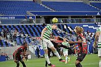 16th July 2020; Nice, France; Veolia Trohy Football friendly, OGC Nice versus Celtic FC;  Alexandre Duville-Parsemain nice loses out on the header to Stephen Welsh celtic